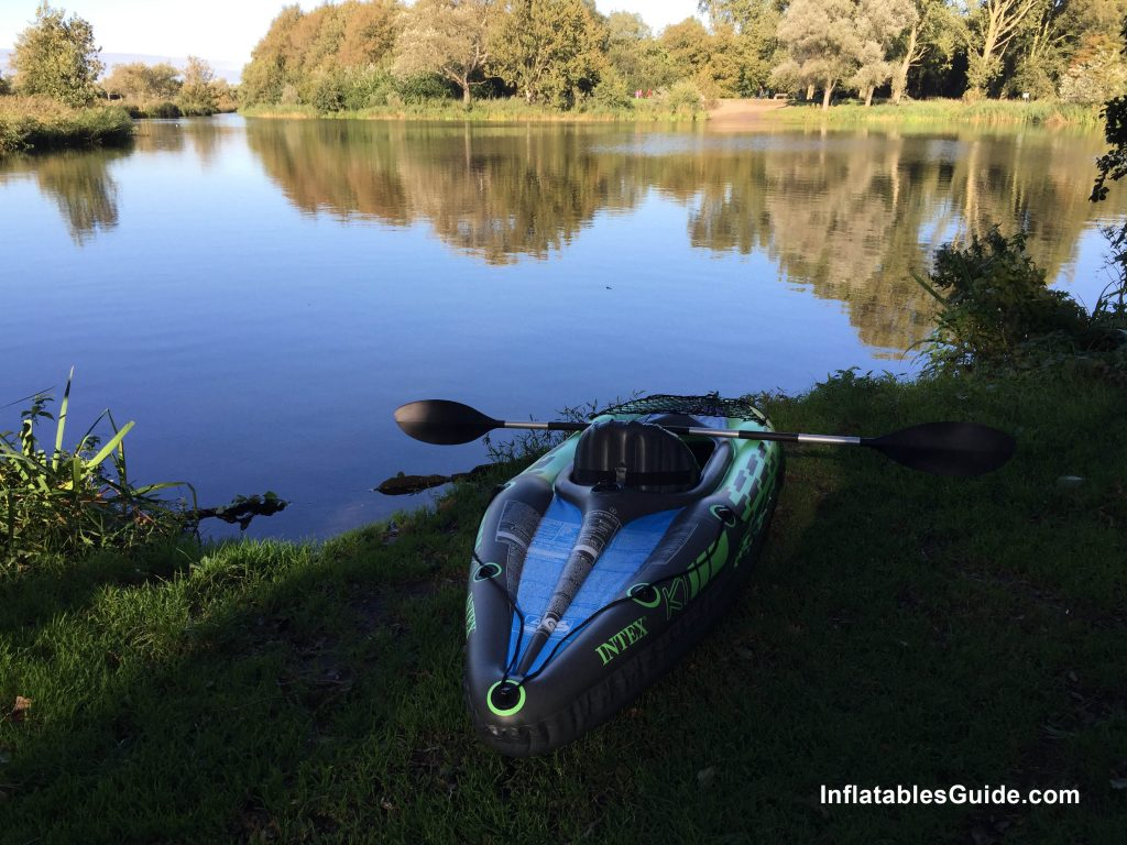 Intex Challenger K1 budget inflatable kayak package with paddles and pump