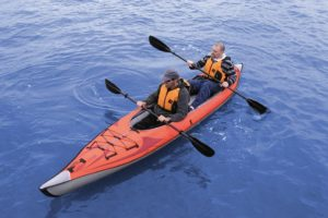 Advanced Elements AE1007-R AdvancedFrame Convertible Inflatable Kayak - in use by 2 persons