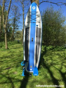 iRocker Cruiser SUP - great package deal with fiberglass paddle and dual action pump