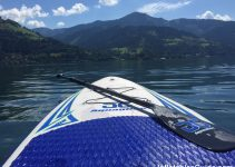 Aquaglide Cascade 10ft inflatable SUP - on a lake