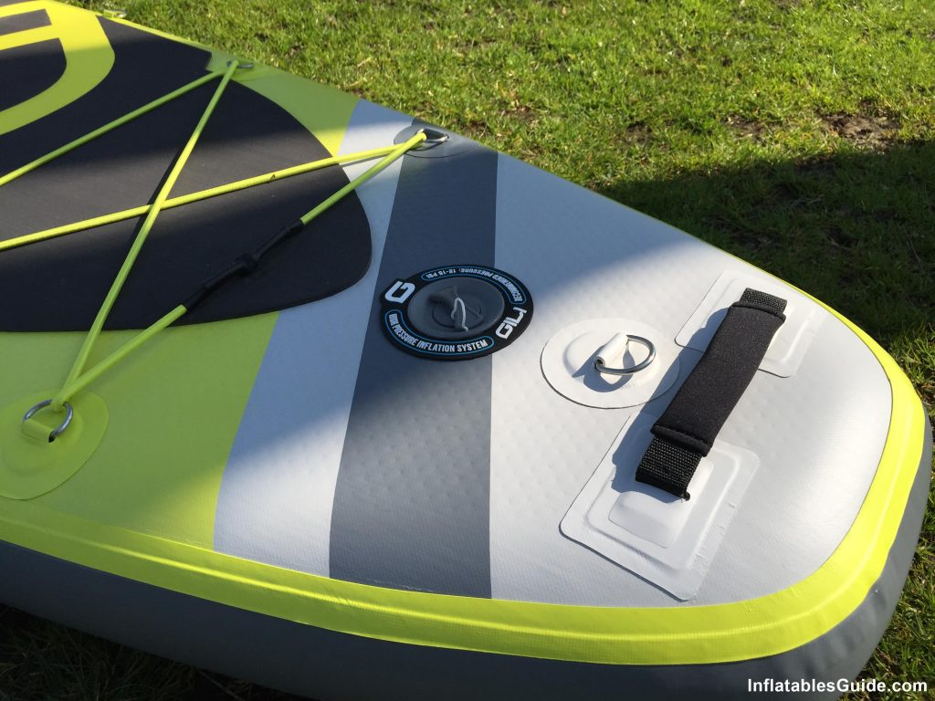 Gili Sports Adventure 11' inflatable SUP - inflation valve and rear handle